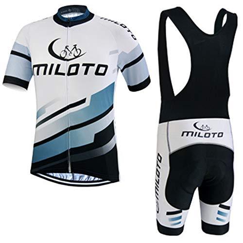 IJNUHB Maillot Cyclisme Homme Manche Courte + Gel Coussin Route VTT Combinaison Vélo Cuissard à Bretelle Respirant Séchage Rapide Plein air Sport vélo,B,S
