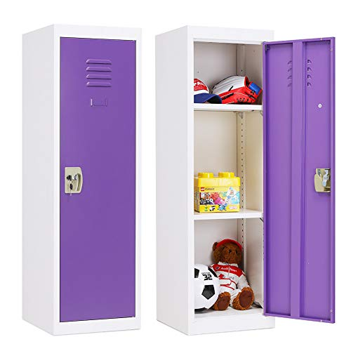 Greenvelly Kids Locker Bedroom Metal Kids Lockers for Kids Room, Kids Storage Cabinet Locker with Door &Lock and Adjustable Shelves for Home, School, (Purple