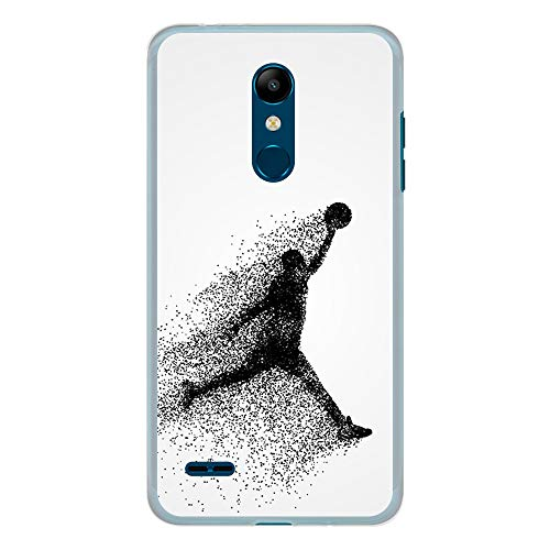 BJJ SHOP Funda Transparente para [ LG K11 / LG K10 2018 ], Carcasa de Silicona Flexible TPU, diseño : Jugador de Baloncesto Abstracto Saltando