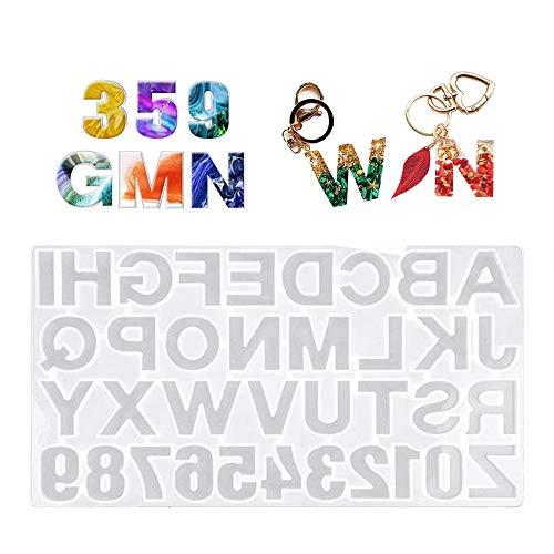 yyuezhi Anzahl Buchstaben Schmuck Silikonform Brief Resin Mold Zahlen Fimo Formen Schmuck Hochwertige Brief Silikonform für Schmuckherstellung Schlüsselanhänger Anhänger Dekoration DIY Basteln