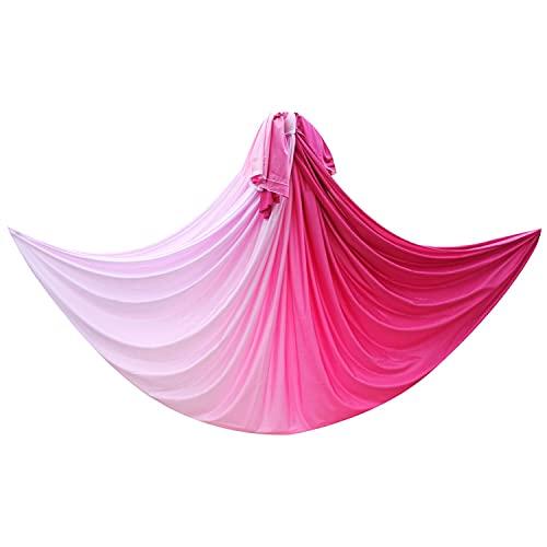 HUUATION Tela de Hamaca de Yoga 5M Swing de Vuelo aéreo para Ejercicio al Aire Libre Culturismo(Pink Light)