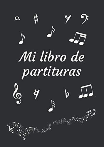 Mi libro de partituras: Cuaderno de música | Libro de partituras | Cuaderno de teoría musical | A4 grande - 100 páginas | Cubierta del tema Black Edition