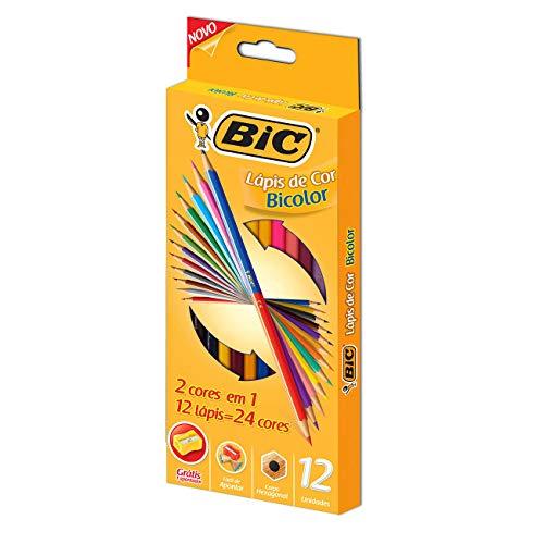 Lápis de Cor Sextavado Bicolor, BIC, 7422104, 12 Lápis/24 Cores + 1 Apontador