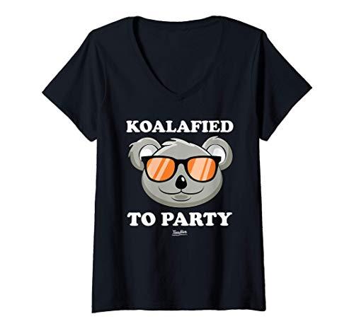 Womens Koalified To Party Koala V-Neck T-Shirt