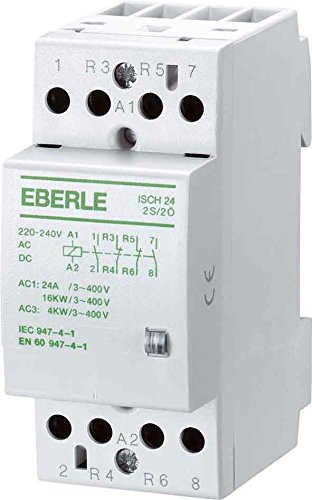 Eberle Controls 049087140000 Installationsschütz ISCH 24-4 Ö (brummfrei, lange Lebensdauer, AC 230 V, 24 A, 4 Oe, Maße: 36 x 85 x 58 mm)