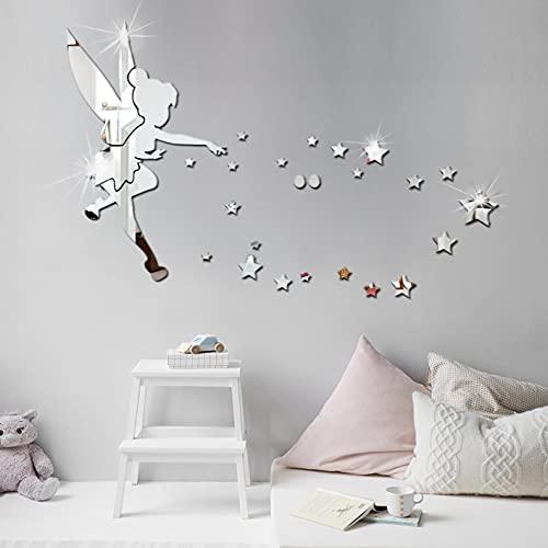 Adesivi Murali 3D, Removibile Adesivi da Parete a Specchio, Fata Ragazza e Stella Adesivi Murali Removibile DIY, Rimovibile Adesivo specchio d'argento, Adesivi per La Decorazione della Casa