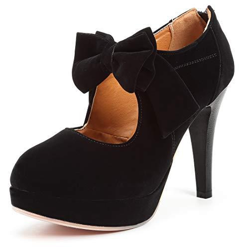 Mostrin Fashion Vintage Womens Small Bowtie Platform Pumps Ladies Sexy High Heeled Shoes Black, 10.5 B(M) US