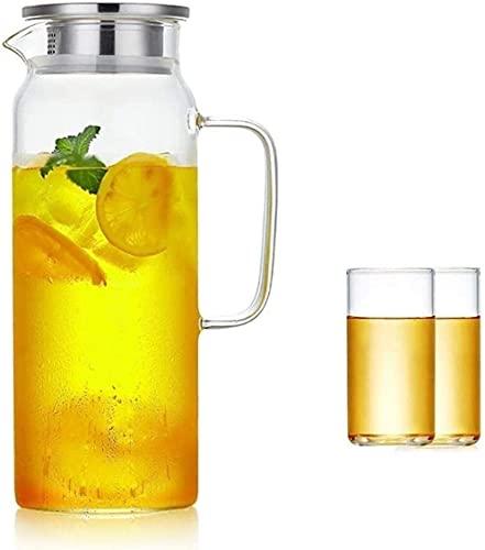 Peakfeng Jarra de Vidrio de Tetera con Tapa de Helado Resistente al Calor para la Tetera de Vino de Leche Copa de té de café frío de Agua fría (Size : 10×22×9cm)