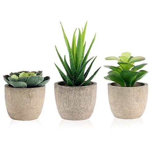 3 Stücke Künstliche Sukkulenten Pflanzen Kunstpflanzen mit Töpfen ideal für Tischdeko Haus Balkon Büro Deko usw