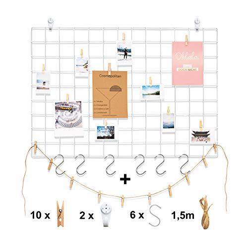 1er | 2er DIY Eisen Deko Foto Wandgitter in Schwarz Weiß Rosegold Metall Gitter Pinnwand Memoboard Gitterwand Wand Organizer Foto Wand Gridpanel
