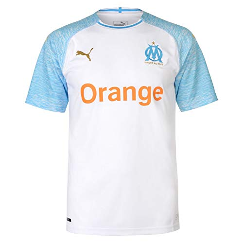 PUMA Herren Trikot Olympique de Marseille Home Shirt Replica SS, Puma White-Bleu Azur, L, 4059506957000