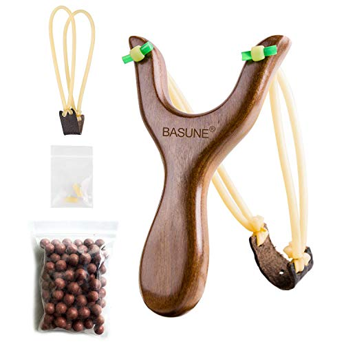 BASUNE Slingshot Y-Shaped Rosewood Wooden Slingshot Toy for Kids Slingshot with Rubber Bands for Hunting Catapult Game