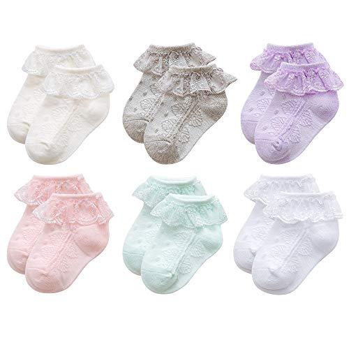 Durio Baby Socks Ruffle Baby Girl Socks Lace Socks Cute Frilly Lace Ankle Socks for Baby Girl Infant Girls Dress Socks Style A-Ivory&Grey&Purple&Pink&Mint&White S (3-12M, Length 3.5'-4.3')