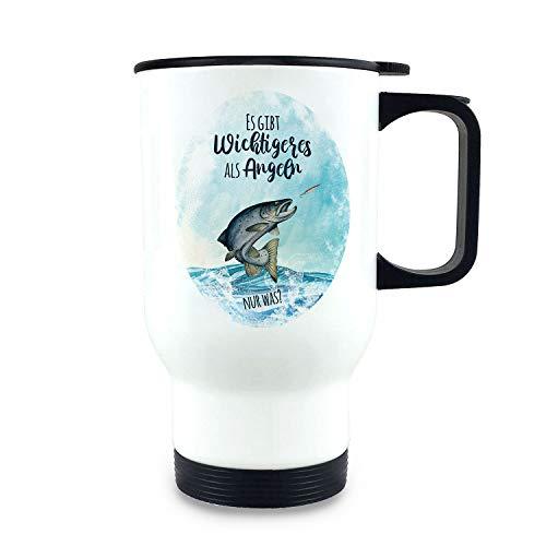 ilka parey wandtattoo-welt Thermobecher Isolierbecher Meerforelle Lachsforelle Fisch Spruch Es gibt Wichtigeres als Angeln Kaffeebecher Geschenk tb254