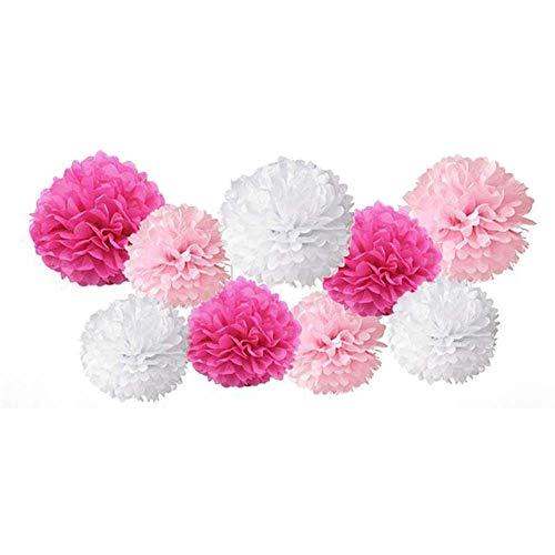 Paquete de 9 Pompones de Papel Mezclados para Colgar, Flores de Papel Pompones, Decoraciones de fiesta y Boda Baby shower, Rosa Blanco, mezcla de 8