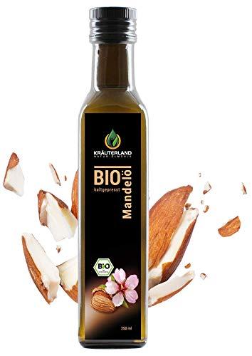 Kräuterland Bio Mandelöl, Bio-zertifiziert, kaltgepresst,100% naturrein, vegan, 250ml, Speiseöl in Gourmetküche, Naturkosmetik Haut- und Haarpflege(250ml)