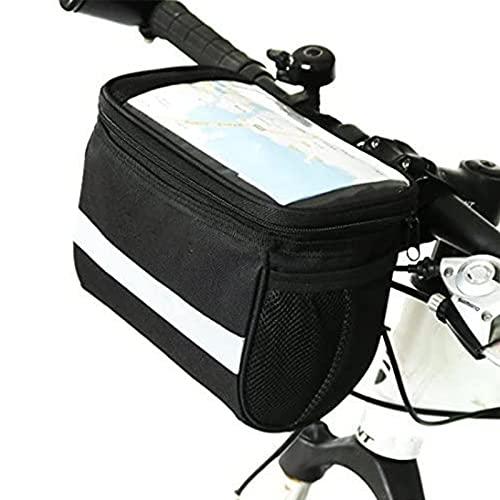 JAJU Bolsa de Manillar de Cesta de Bicicleta de montaña con Banda Reflectante Gris Plateada, para Bicicleta de montaña, Actividades al Aire Libre, Paquete de Accesorios para Ciclismo