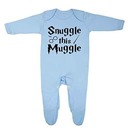 Snuggle this Muggle' - Tutina per neonato progettata e stampata nel Regno Unito in 100% cotone pettinato fine Blu 0-3 mesi