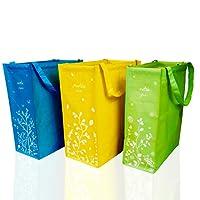 set di 3 contenitori pattumiera per differenziata bidoni sottolavello estraibile colorati cestini immondizia interno cestino pieghevole raccolta bidone spazzatura esterno secchi rifiuti e riciclaggio