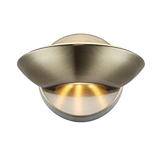 LED Wandlampe Messing auf und ab Beleuchtung Wandstrahler Wandleuchte Flurlampe (Wand Spot, Wohnzimmer Leuchte, Wandbeleuchtung, Schlafzimmer, 16,5 cm, inkl. Leuchtmittel 2 flammig, warmweiß, EEK A)