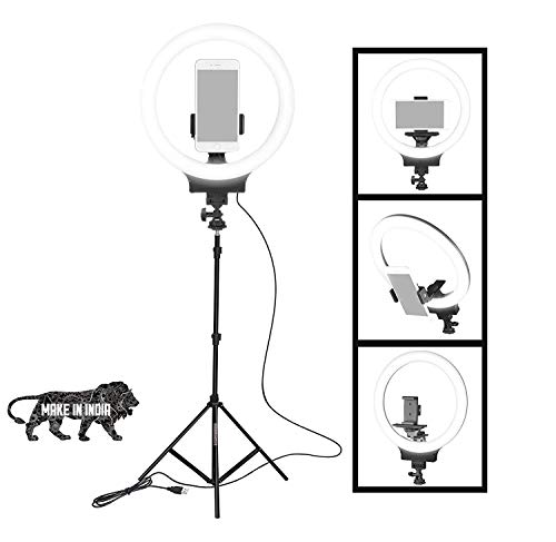 VARZ Professional LED Selfie Ringlight with Adjustable Tripod Stand for YouTube, Reels, Musically, Video Vlogging and Camera Photography. (10 Inch Ring Light with 7 feet Tripod)