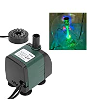 Dränkbar fontänpump, läckningsdämpande Robust dränkbar pump med lätt hållbar bra isolering med LED-ljus för akvarium för fisk