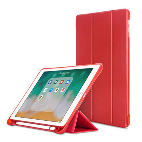 Smart Case for iPad 2018(2017) 9.7 with Pencil Holder Silicone Soft Cover for iPad 5/6 Air 2/ Air1 Case Tablet Stand Holder,red