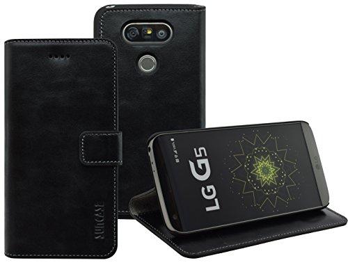 LG G5 | LG G5 SE | Suncase Book-Style (Slim-Fit) Ledertasche Leder Tasche Handytasche Schutzhülle Hülle Hülle (mit Standfunktion & Kartenfach) schwarz