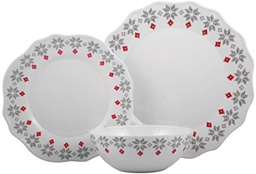 Melange 12-Piece 100% Dinnerware Set for 4 Christmas Collection-Grey Holly Shatter-Proof and Chip-Resistant Melamine Dinner Plate, Salad Plate & Soup Bowl (4 Each), 10.5', White