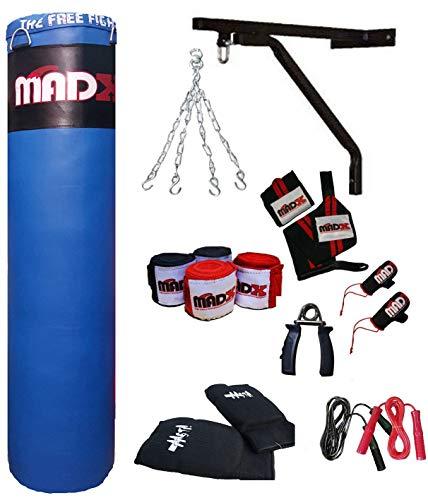 Madx 7-teiliges Box-Set, 152 cm großer, gefüllter, schwerer Boxsack, Handschuhe, Kette, Halterung, Trittsack