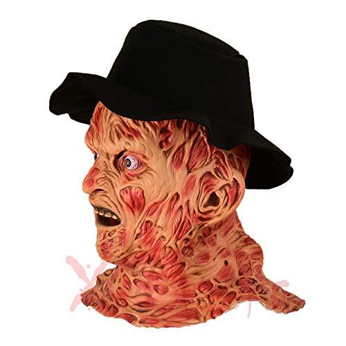 Freddy Mask, Halloween Bloody Zombie met Hat Scary Latex Zombie Maskers Smeltend Gezicht Neck Devil Party Kostuums, Volwassen Latex Kostuum Maskers, One Size