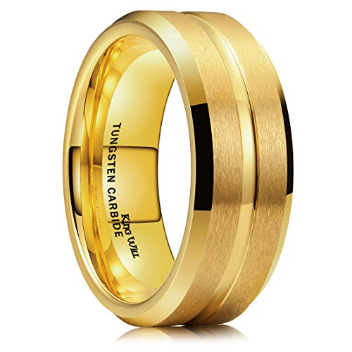 King Will Classic Men 8mm Gold Tungsten Carbide Matte Brushed Finish Center Wedding Band Ring Comfort Fit 13.5