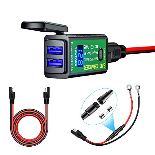 YGL Impermeable Cargador USB de Motocicleta 4.8A Adaptador SAE a USB Con Voltímetro e Interruptor de Encendido/Apagado para Smart Phone Tablet GPS