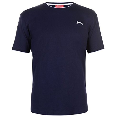 Slazenger Herren Tipped T Shirt Kurzarm Rundhals Tee Top Bekleidung Kleidung Blau3 XXXXL