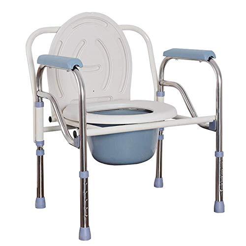 Opvouwbare nachtkastje Commode Stoel - Roestvrij staal Oudere toiletstoel met commode emmer in hoogte verstelbaar toiletpot voor zwangere vrouwen en gehandicapten