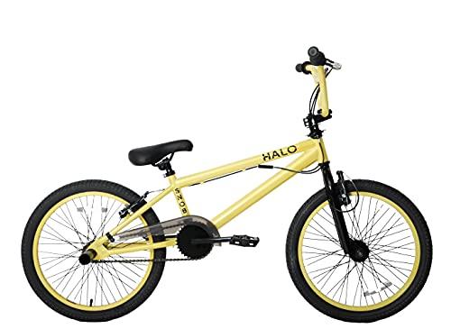 Snob Halo 20' Wheel Freestyler BMX Kids Bike Gyro & Stunt Pegs Black Gold Age 7+