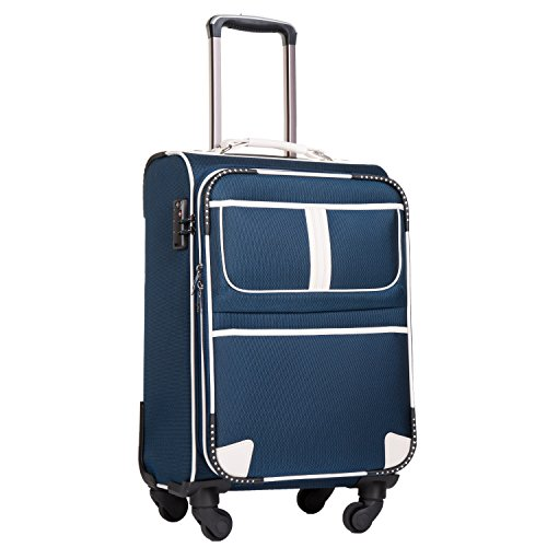 Coolife Luggage Expandable Suitcase Spinner Softshell TSA Lock (S(20in), Navy.)