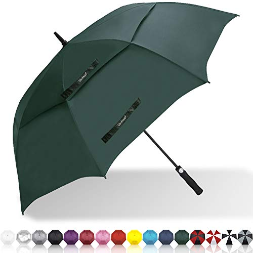 Vedouci Large Oversize Golf Umbrella Double Canopy Vented Windproof Stick Umbrella with Teflon Coating, Automatic Umbrellas Anti UV Coating Golf Umbrellas,Forest Green