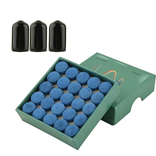 CM Pack of 50 Billiard Cue Tips Glue-on Pool Tips Replacement Kit 10mm Pool Stick Tips with Cue Tip Rubber Protector Cover for Pool Cues and Snooker-Blue