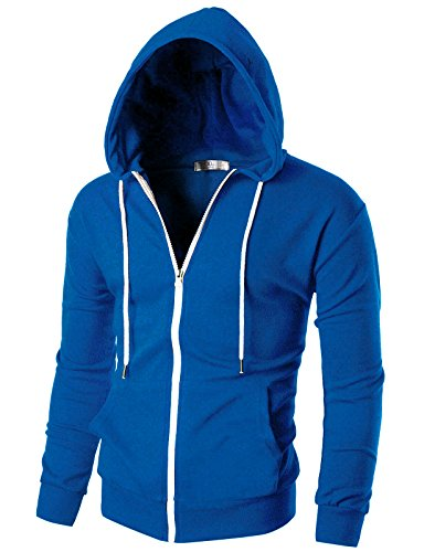 OHOO Mens Slim Fit Long Sleeve Lightweight Zip-up Hoodie with Kanga Pocket/DCF002-BLUE-S