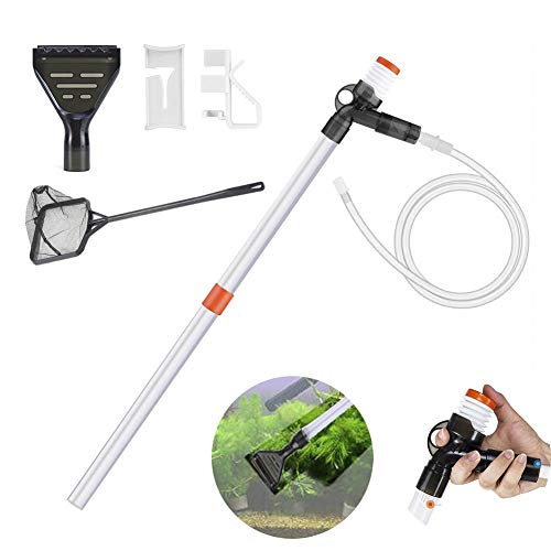 Gigibon Aquarium Gravel Cleaner Fish Tank Vacuum Gravel Cleaner Kit with Glass Scrapers Siphon Cleaning Tools for Water Changing, Sand Washing