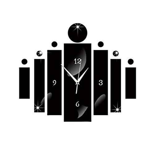 OOFAY& Acrylique miroir mural Autocollant / combinaison carrée décor muet horloge pour salon, chambre d'enfants, café, 41 * 35cm , black