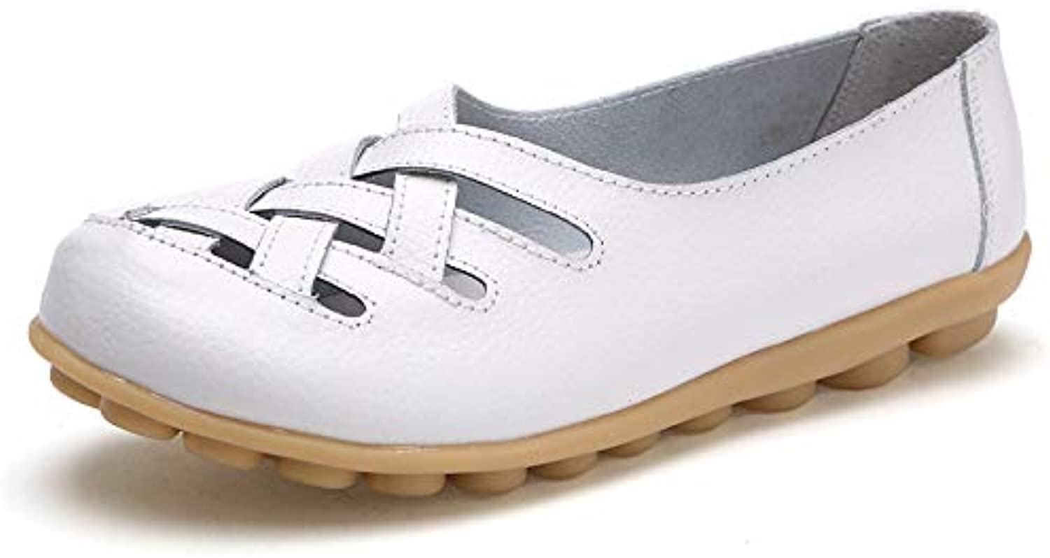 DUOYANGJIASHA Women's Leather Loafer Casual Flat shoes Rubber Sole shoes (8.5 B(M) US, White)