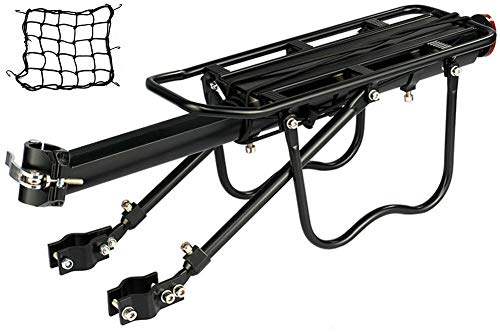 Dirza Rear Bike Rack Bicycle Cargo Rack Quick Release Adjustable Alloy Bicycle Carrier 115 lbs Capacity Easy to Install Black