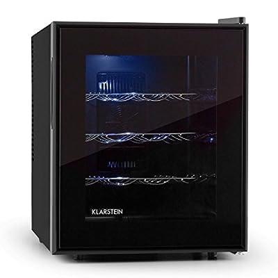 Klarstein Barolo Wine Refrigerator Pro Edirion - Drinks Fridge, 48 litres, 16 Bottles, LED Interior Lighting, 3 Metal Shelves, Freestanding Construction, Temp: 11°-18°C, Height-Adjustable, Black