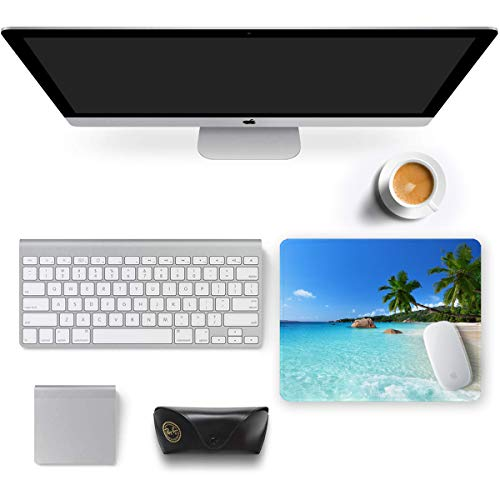 Auhoahsil Mouse Pad, Square Beach Style Anti-Slip Rubber Mousepad with Durable Stitched Edges for Gaming Office Laptop Computer PC Men Women Kids, Cute Custom Pattern, Beach and Coconut Trees Design Photo #2
