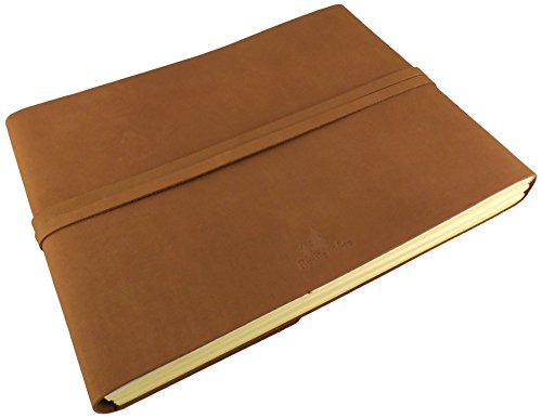 "Large Rustic Genuine Leather Photo Album with Gift Box - Scrapbook Style Pages - Holds 400 4x6"" or 200 5x7"" Photos"