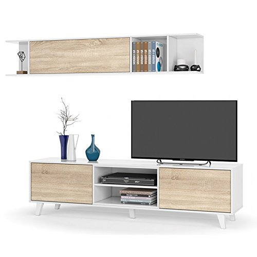 Mueble de salón, Comedor, Módulo TV + Estante, Modelo Zaiken Plus, Color Blanco Brillo y Roble Canadian, Medidas: 180 cm...