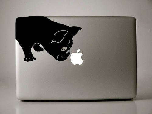 French Bulldog Sniff Decal for 13' MacBook