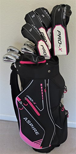 Ladies Complete Golf Club Set - Driver, Fairway Wood, 2 Hybrid Clubs, Irons, Putter, and Deluxe Bag Pink Right Hand